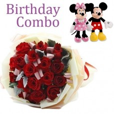 Birthday Package - Rose Bouquet + Mickey and Minnie Mouse