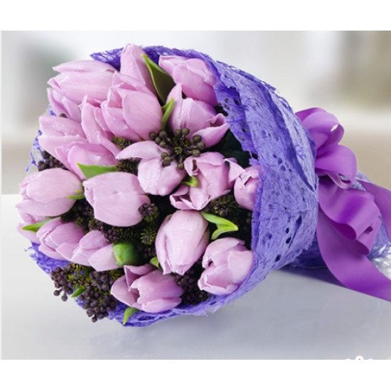 Pink Tulips Hand Bouquet 20 Stems
