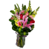 Square Vase arrangement with Lily and Roses