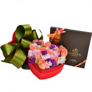One Dozen Roses in a Heart Shape Box with Godiva DARK Chocolate