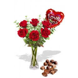 6 Roses package with Chocolate Box and I Love You Helium Balloon