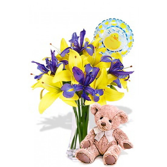 Asiatic and Iris Package with Medium Teddy Bear and Helium Balloon