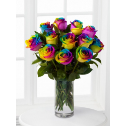 One Dozen Rainbow Roses in Vase